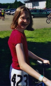 Beating stigma by competing in a bike race in 7th grade.