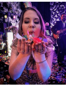 Celebrating Mardi Gras with lots of confetti!